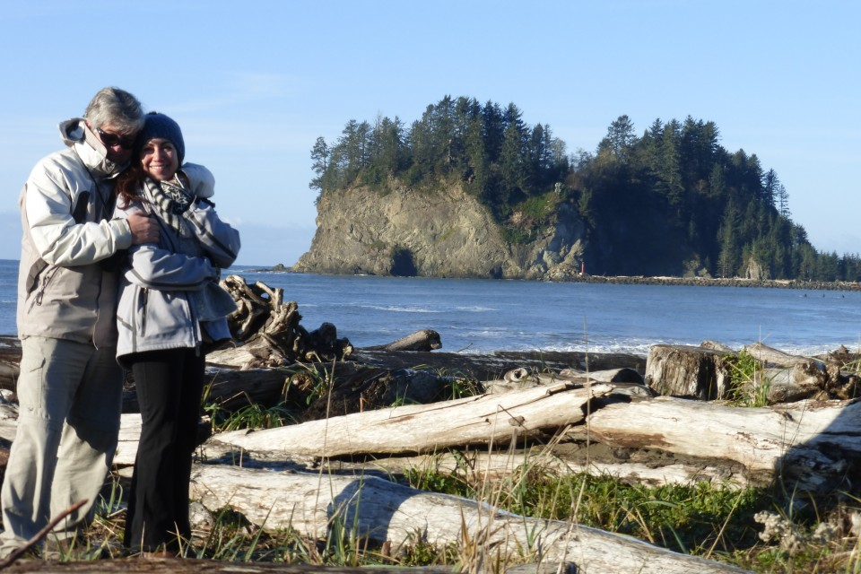 Rick and me at La Push.  It was a mere 27 degrees out. Cold and crisp, beautifully sunny on the Olympic Peninsula, Big Foot country.