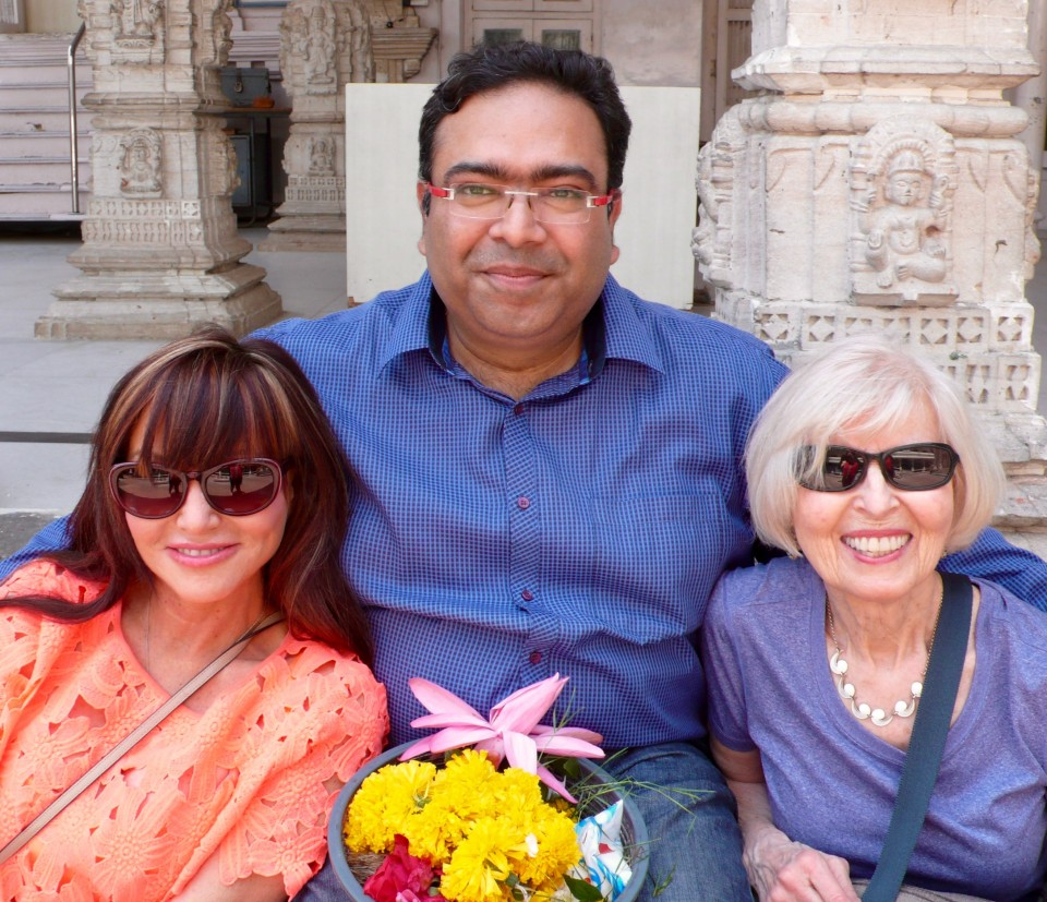 Vishal poses with Karin and Tone at the Shiva Temple