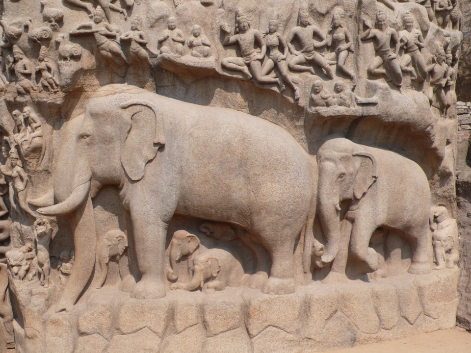 Elephants and their babies!  Depicted here with the massive carved temple wall of Arjuna's Penance.