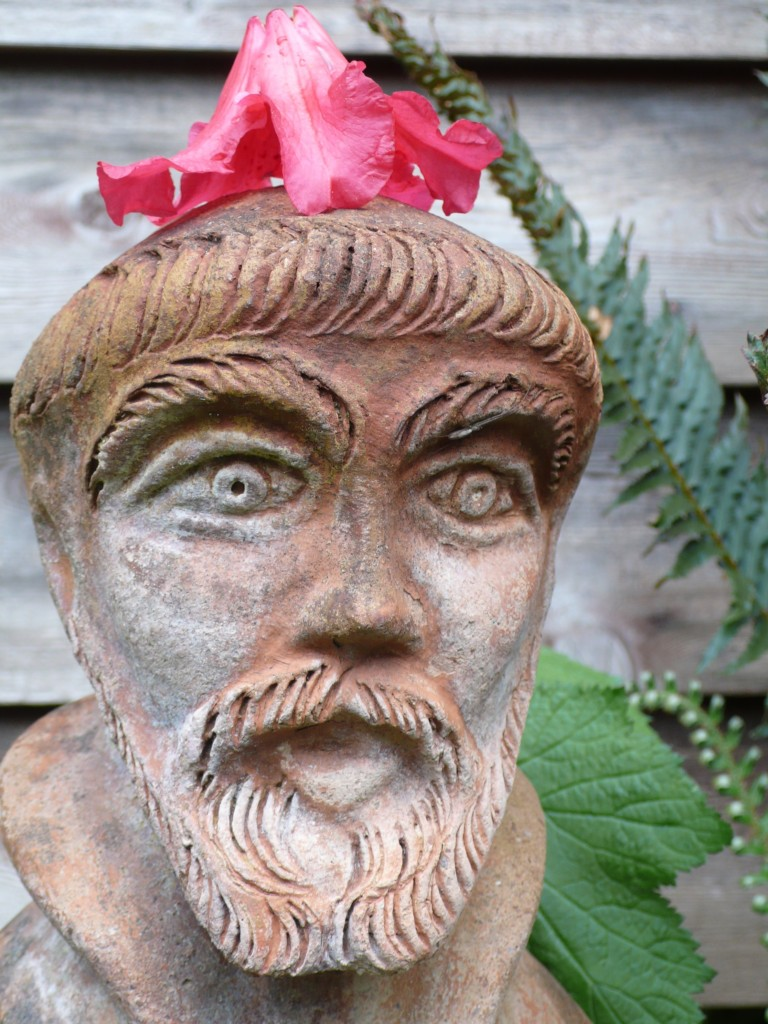 St. Francis sporting his flower hat