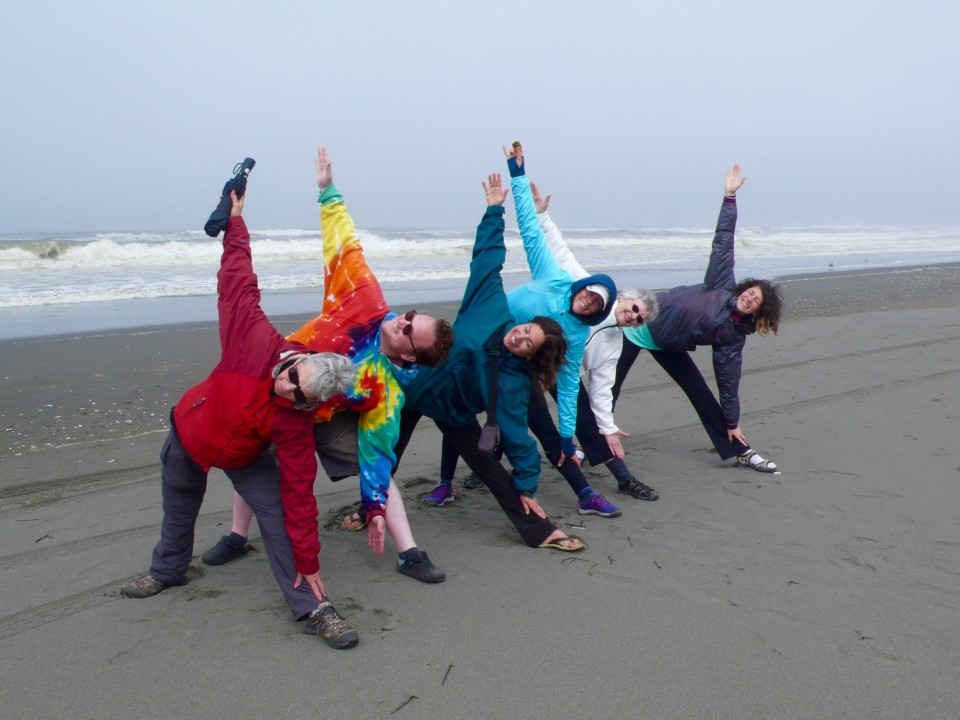 Triangles on the beach (was too cool this year to do a yoga session on the beach in the morning)