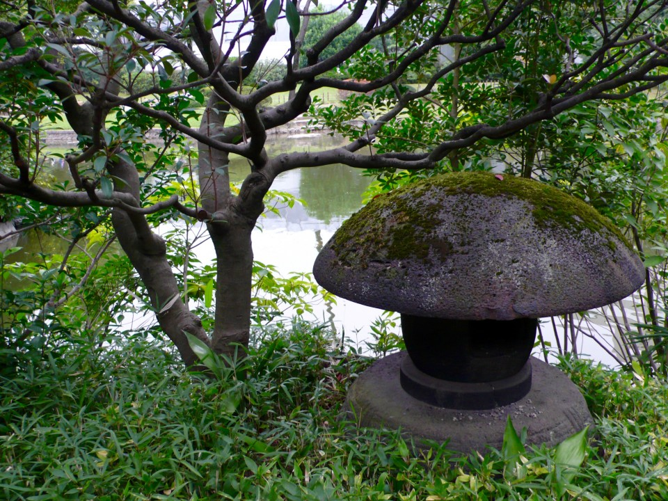 Moss covered stone lantern