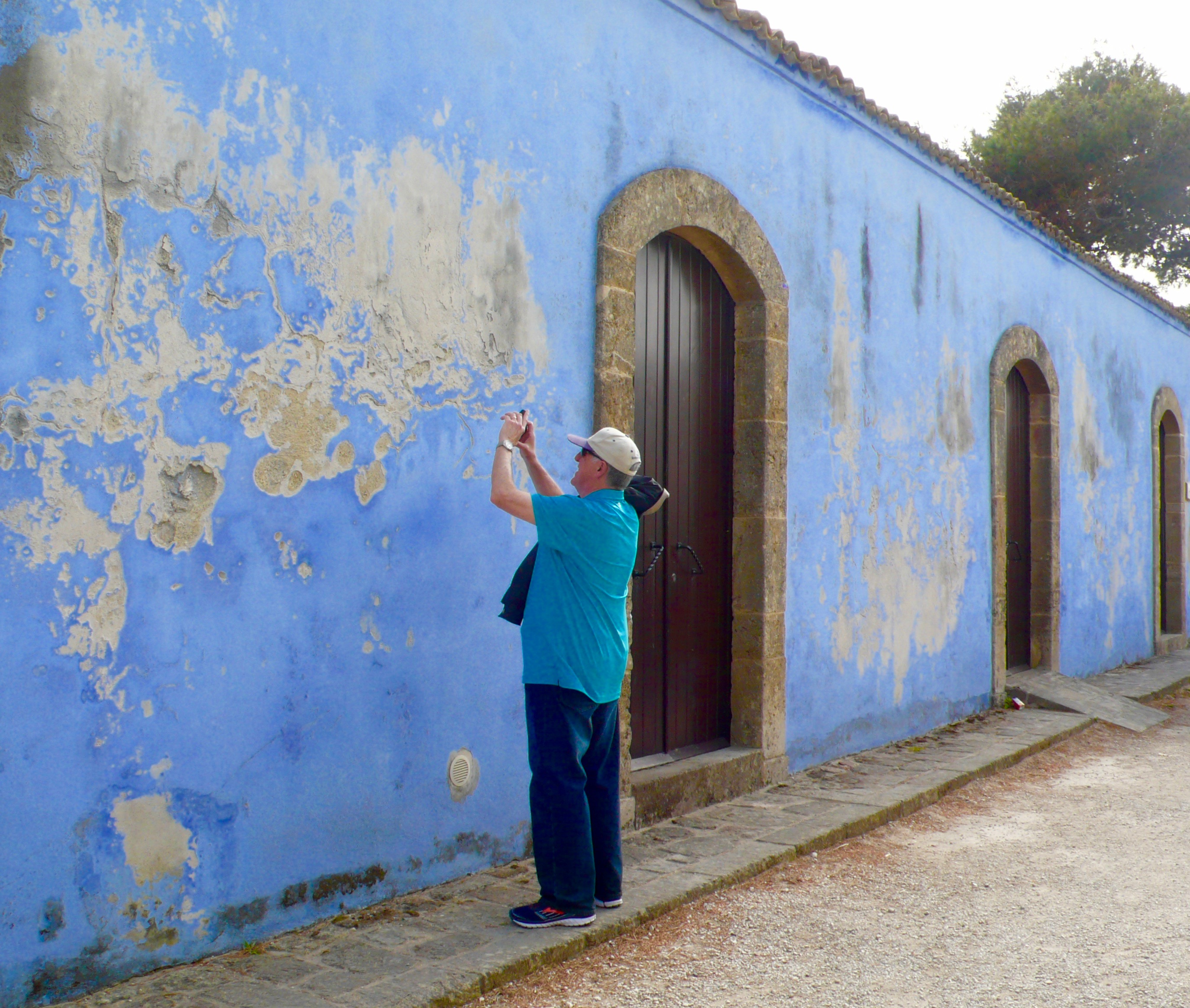 My artistic brother-in-law photographing the blue walled house