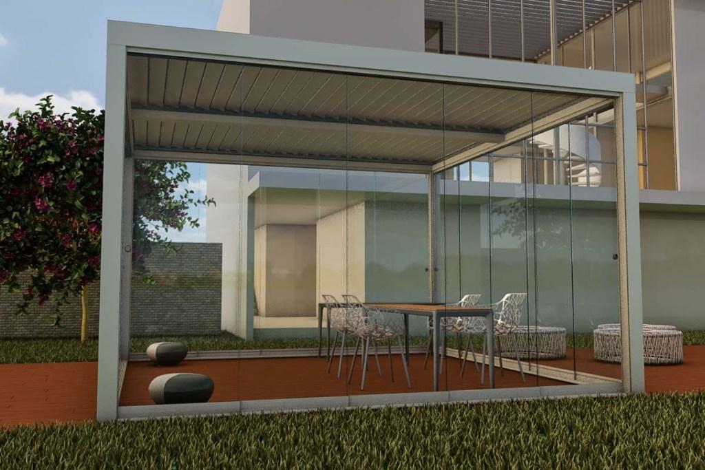 Pergole-Alluminio-Bioclimatiche-Bioeclisse-Frangisole-pale-orientabili-protezione-solare-tenuta-acqua-Stameat-srl-Padova