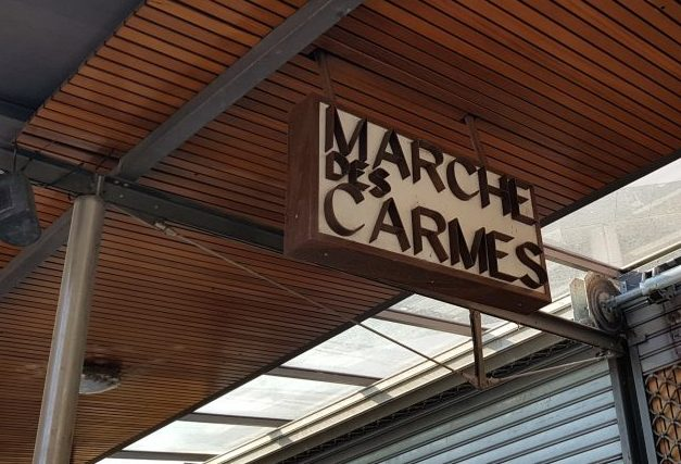 Sign for Marche des Carmes in Toulouse