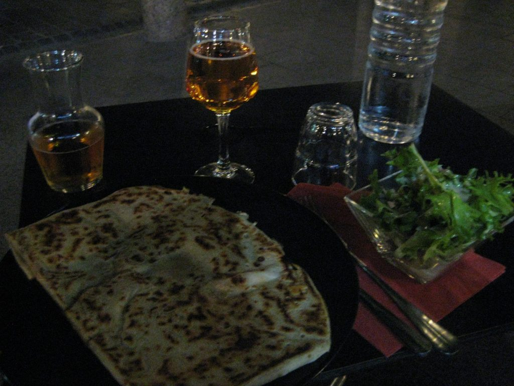 Crepes by night at Creperie St Georges in Toulouse