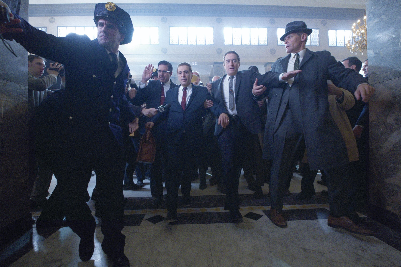 Al Pacino as Jimmy Hoffa and Robert De Niro as Frank Sheeran in The Irishman