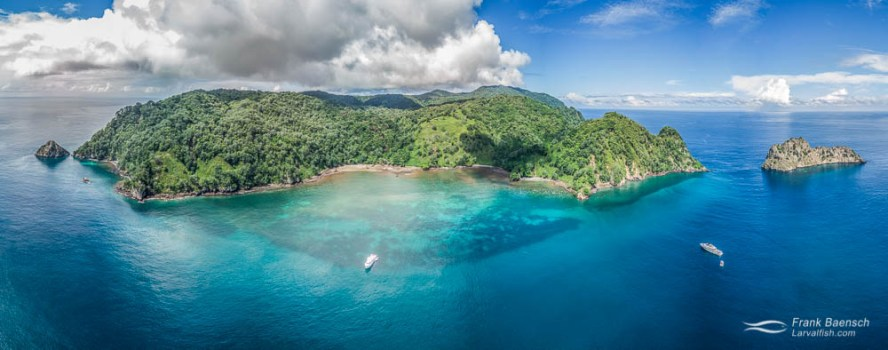 Cocos Island landscape, Chatham Bay, aerial view.