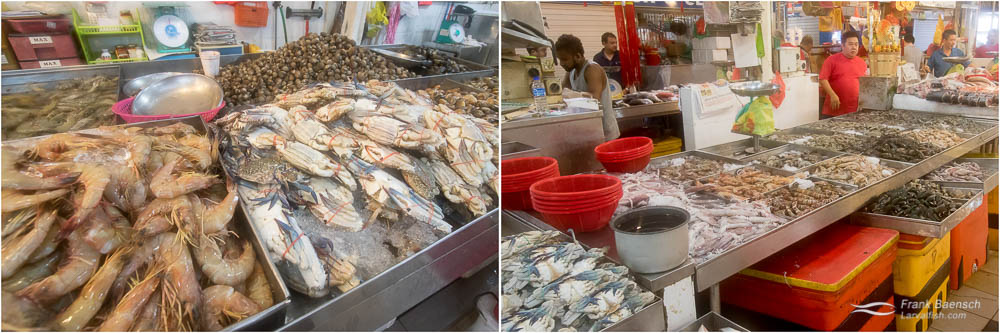 Prawns, crabs, clams and squid at the Tekka Market.