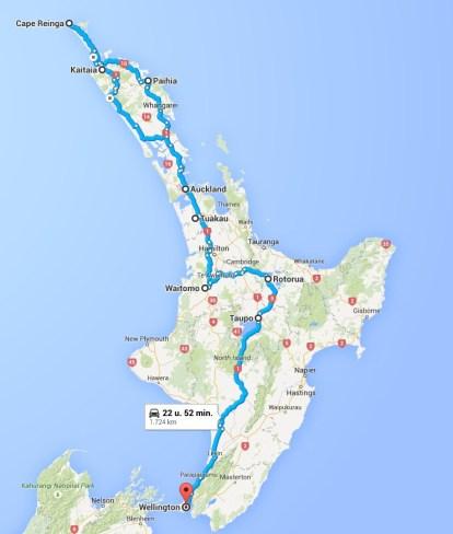 North Island: 1724 km