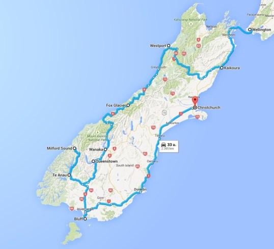South Island: 2395 km