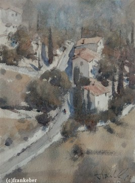 Underneath Gordes (2016) by Frank Eber | Atmospheric Watercolor Fine Art