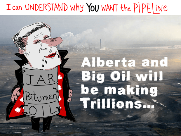 Alberta and Big Oil will be making trillions; Harper Dirty Oil illustration by Franke James, Photo Syncrude 2007 -12 Photo © 2007 David Dodge, CPAWS