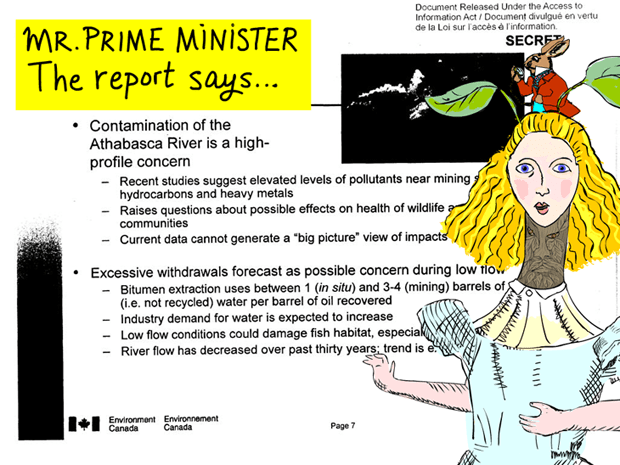 The internal government report says, 'Contamination of the Athabasca River is a high-profile concern... elevated levels of pollutants near mining sites raise questions about possible effects on health of wildlife and downstream communities.' photo-illustration by Franke James
