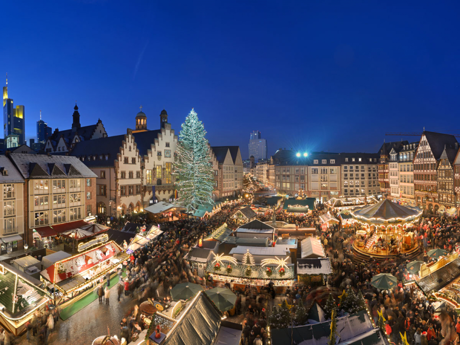 Frankfurt christmas market from the top of the church