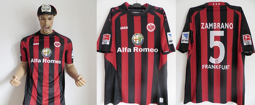 Eintracht Frankfurt Trikot 2013 Alfa Romeo Matchworn Zambrano