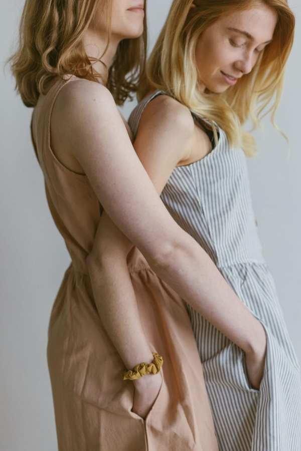 Leinenkleid in gestreift für Frauen