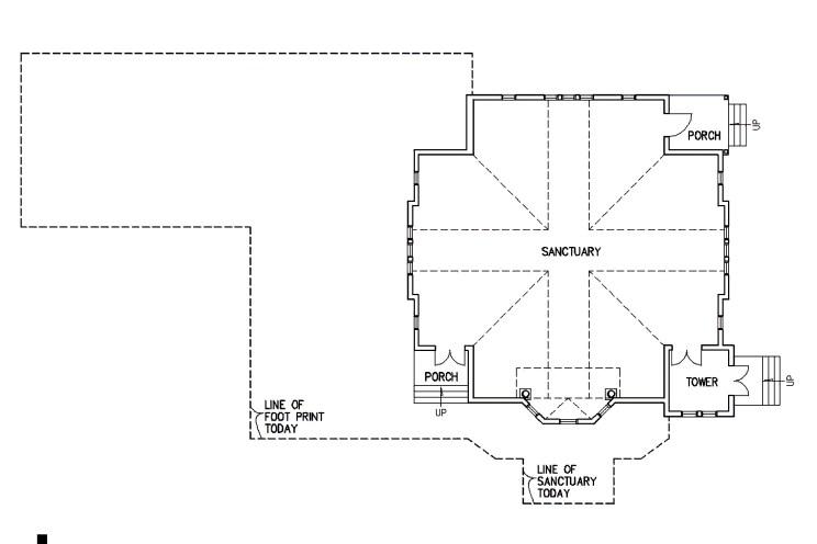floor plan showing original footprint of the church