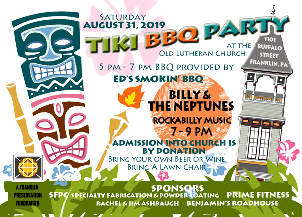 Poster with graphics for Tiki BBQ