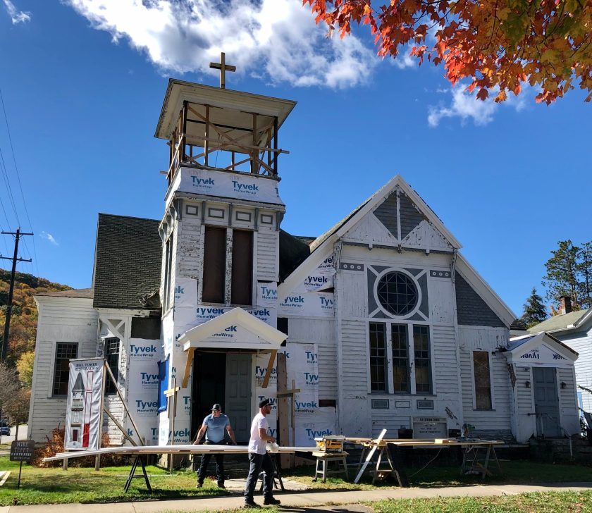 Construction workers restoring the former .Grace Lutheran Church