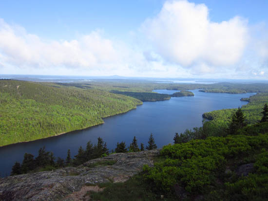 Looking at Long Pond from near the summit of Beech Mountain - Click to enlarge