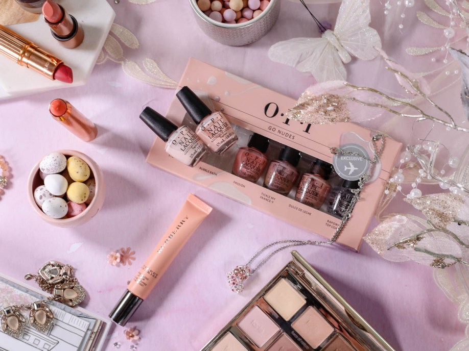 Spring Beauty | My Top Picks for Embracing Softer Hues this Spring feat OPI, & Tarte palette against pastel backdrop