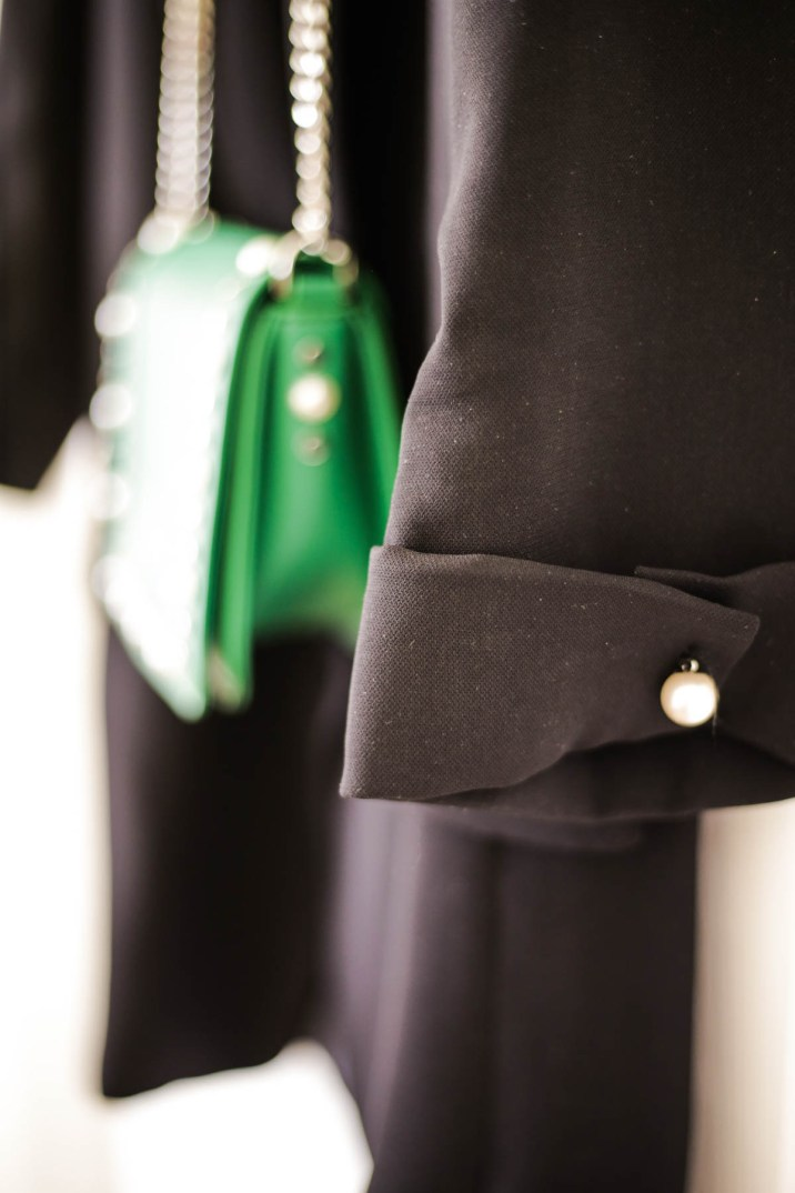 A Wardrobe Update With Some Key Fashion Pieces | feat close up of Zara Black Blazer with pearl sleeve detail_
