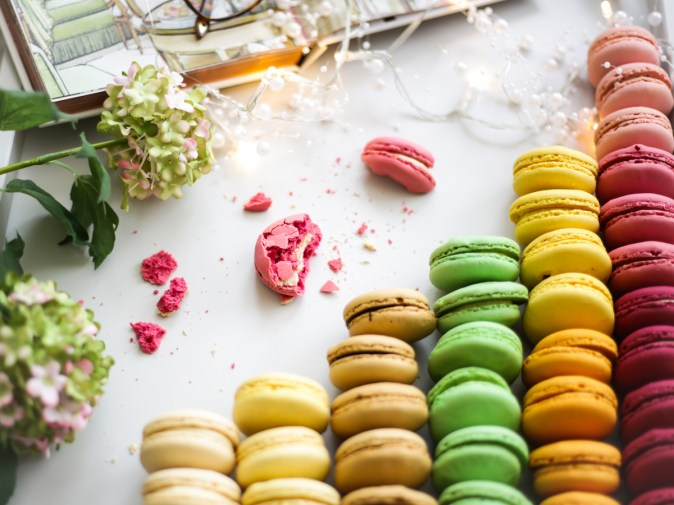 Blog Photography | Four Photo Styling Props I Love feat macarons in grey tray with half eaten macaron