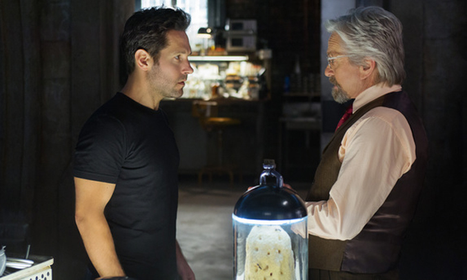 Scott Lang/Ant-Man (Paul Rudd) and Hank Pym (Michael Douglas). Photo Credit: Zade Rosenthal © Marvel 2014