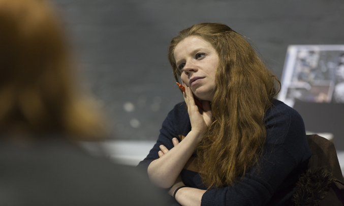 Playwright Becky Prestwich during rehearsals of CHIP SHOP CHIPS. Image Credit: Lucas Smith