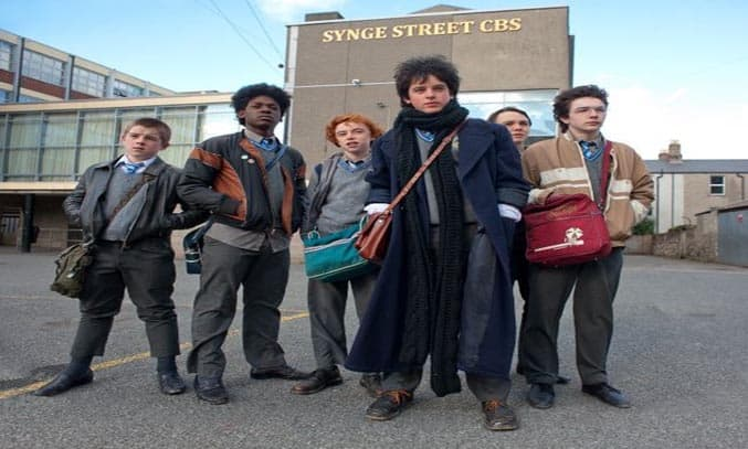 Ferdia Walsh-Peelo and the cast of Sing Street (2016). © 2015 The Weinstein Company. All Rights Reserved.
