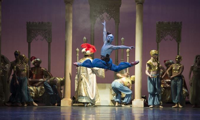 Tzu-Chao Chou as the Djinn of the Lamp in ALADDIN. Photo Credit: Bill Cooper