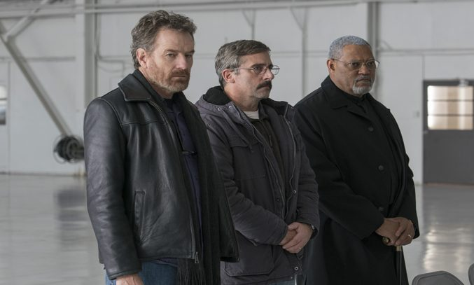 Steve Carell, Bryan Cranston and Laurence Fishburne in LAST FLAG FLYING