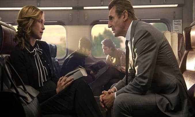 Liam Neeson and Vera Farmiga in THE COMMUTER