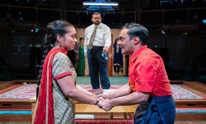 Shalini Peiris (Durga Hobson), Tony Jayawardena (Hari Hobson) & Esh Alladi (Ali Mossop) in HOBSON'S CHOICE