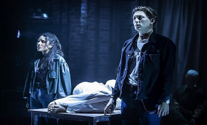 Tom Francis (Roger) and Maiya Quansah-Breed (Mimi) in RENT at Hope Mill Theatre.