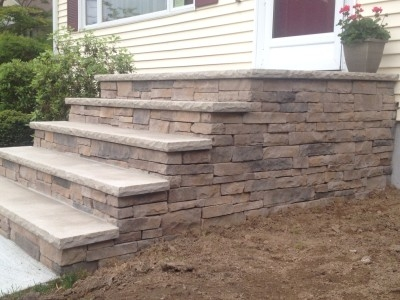 Front Steps Construction Randolph Nj Repairing Concrete Steps | Brick Front Step Designs | Patio | Entry | Front Entrance Front Porch Wall Tile | Raised Front | Bluestone Treads 24 Inch Rise