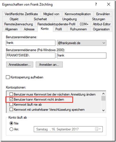 Passwortänderung via OWA funktioniert nicht