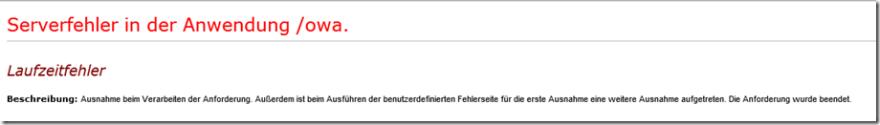 Serverfehler in der Anwendung /owa