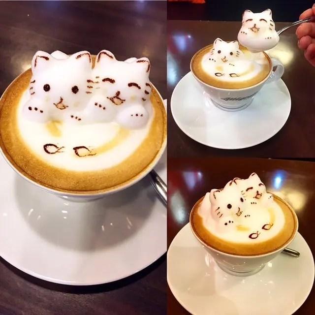 3D cat coffee Hong Kong