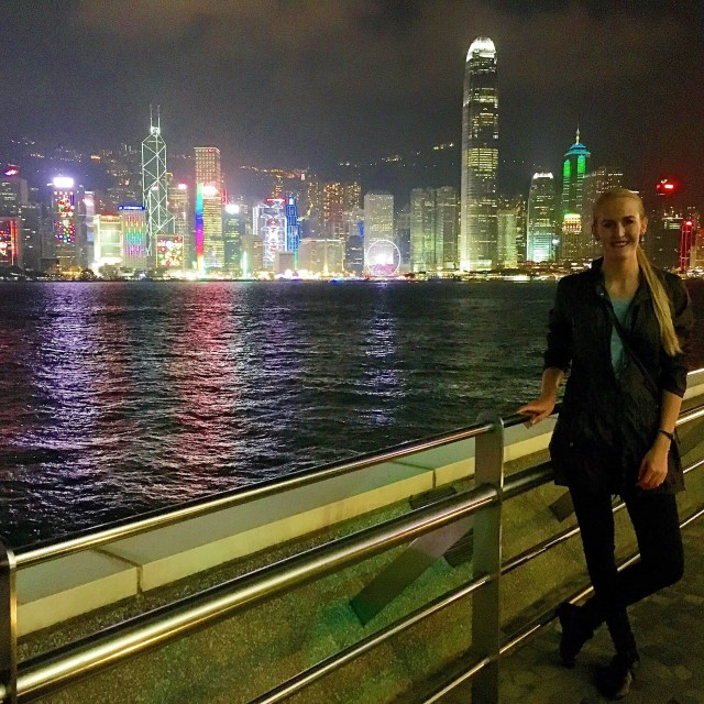 Posing next to the waterfront