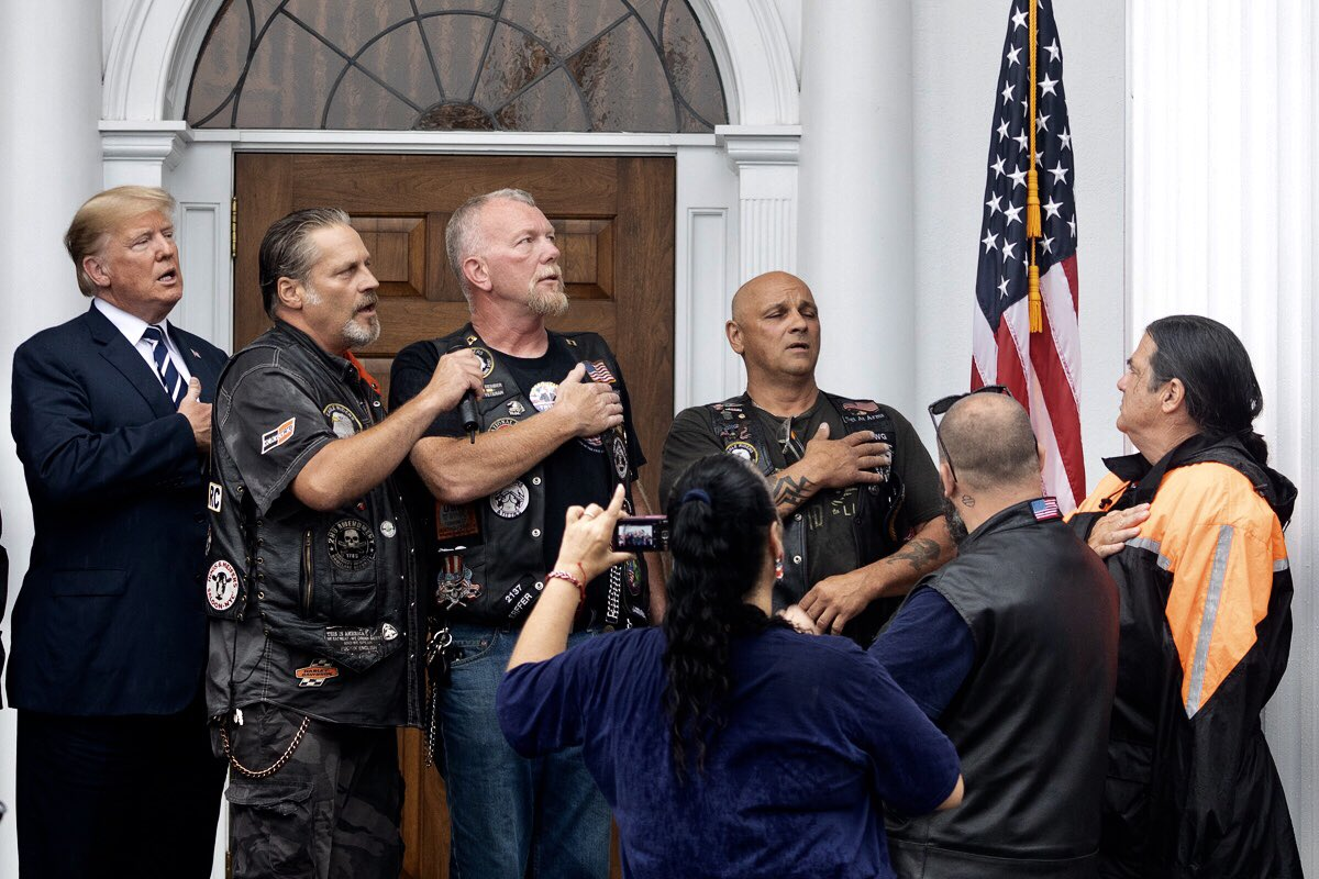 Trump visits Bikers for Trump rally in Bedminster, New Jersey - shows appreciation on twitter