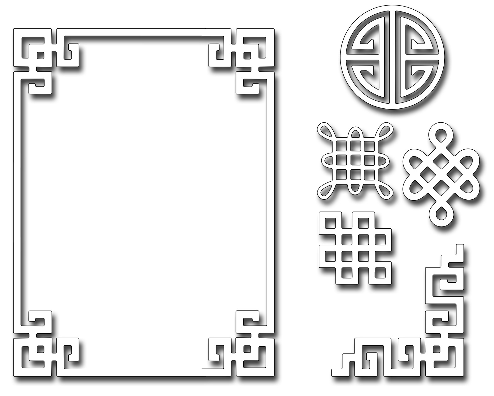 Frantic Stamper Precision Die Oriental Frame And Motifs