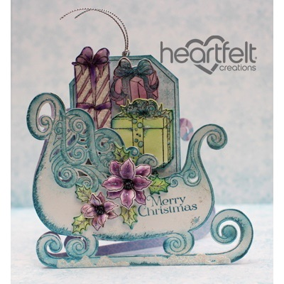 Heartfelt Creations Celebrate The Season Collection Ornate Sleigh Cling Stamp Set