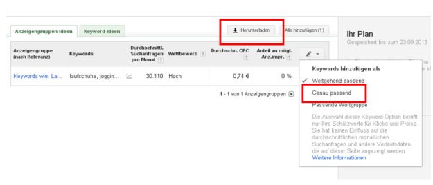 Keyword-Planer Download der Daten
