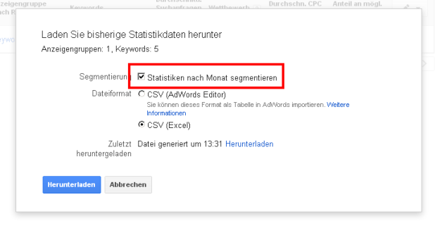 Keyword-Planer Export Optionen
