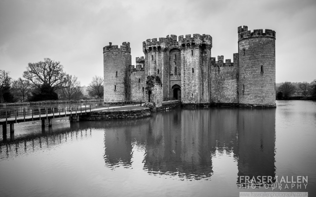 Bodiam Castle on a dreary and cold March morning