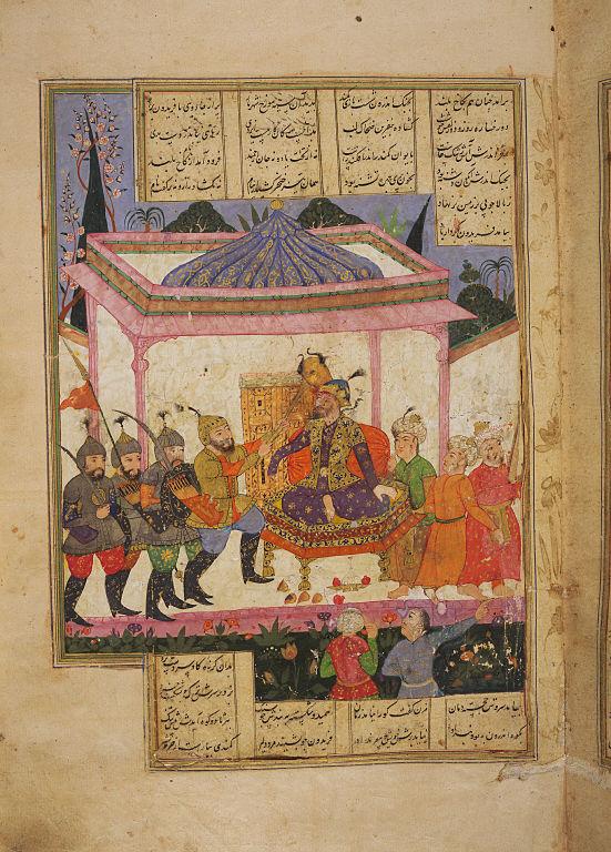 Faridun smites Zohak with the Goraz