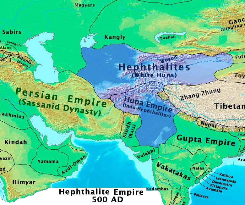 The Hephthalite Empire Image courtesy Wikipedia
