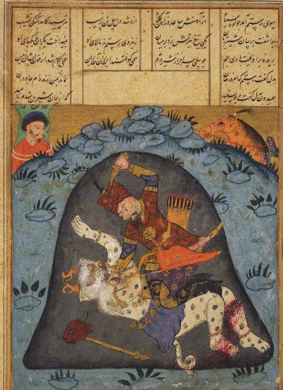 Rostam kills Sapeed Dev Image courtesy Princeton Shahnameh Project